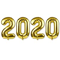 MIAHART 40 Inch Giant Number 2020 Balloon Sets Gold Aluminum Foil Balloon Happy New Year Eve Party Balloon Decorations Supplies