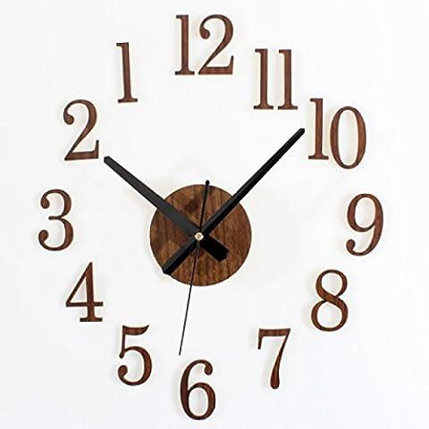 CHLWW Créative Simple Nostalgique Rétro Maison Loisirs L'imitation Le Bois Le Temps Inversé Bricolage Stickers Muraux Horloge Murale,Brown