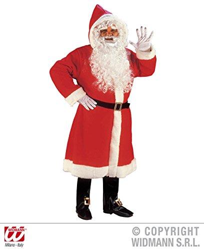Kostüm Zeit Santa Alte - Luxus Weihnachtmann Mantel mit Perücke, Bart und Schnurrbart, Gürtel, Stiefelüberzieher, ... M/L Weihnachten