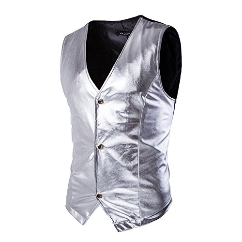 Linyuan Fashion Men Casual Glossy Suit Vest Slim Fit Waistcoat Black/Silver/Gold MJ14 (Jacket Suit Check)
