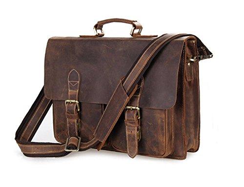 YAAGLE Europäisch erste Schicht aus Leder Retrotasche Herren Schultertasche Handtasche Kuriertasche Umhängetasche-braun