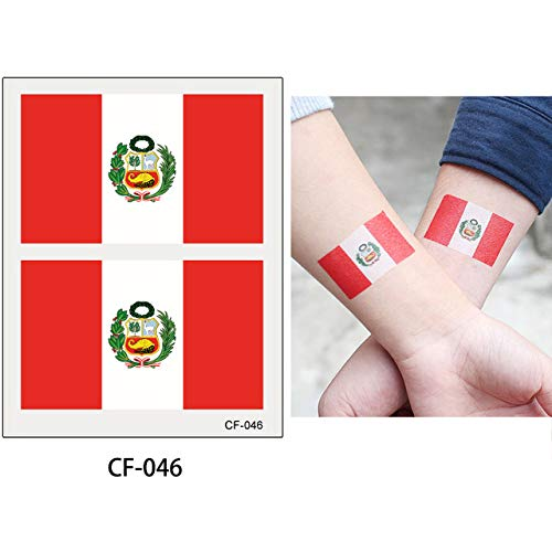 HXMAN 3 Tabelle Wm Flagge Tattoo Aufkleber Temporäre Brasilien Russische Flagge Fußball Spiel Körper Gesicht Hand Tattoo CF-046 (Peru Kostüme Frauen)