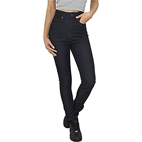 Ladies High Waist Denim Skinny Pants raw blue denim 29