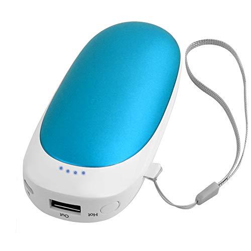 T98 USB Handwärmer, Elektrisch Taschenofen Doppelseitig Aufladbarer Taschenwärmer Wiederverwendbar, 5200mAH Hohe Kapazität Tragbare Powerbank für Handys iPad Tablets Smartphones MP3-Player etc (Blue) Blue Handy Pda
