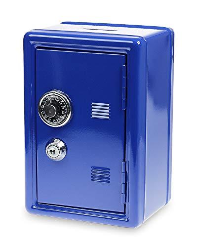 Monsterzeug Spardose Tresor - blau, Sparbüchse, Massiver Mini Safe mit Schlüssel, 18 x 12 x 10 cm
