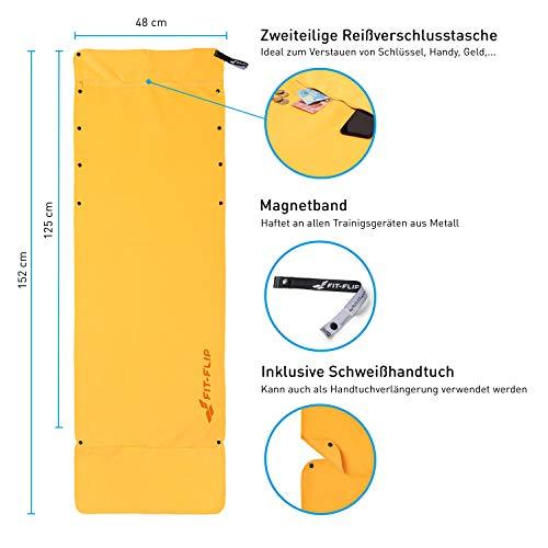 3-tlg Fitness-Handtuch Set mit Reißverschluss Fach + Magnetclip + extra Sporthandtuch   zum Patent angemeldetes Multifunktionshandtuch, Fit-Flip Microfaser Handtuch (gelb) - 2