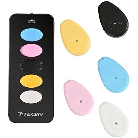 TEQIN 5in1 Wireless Indoor Cercatore Chiave Keys Caller Locator Pet Finder Kit Allarme RF Telecomando (Nero)