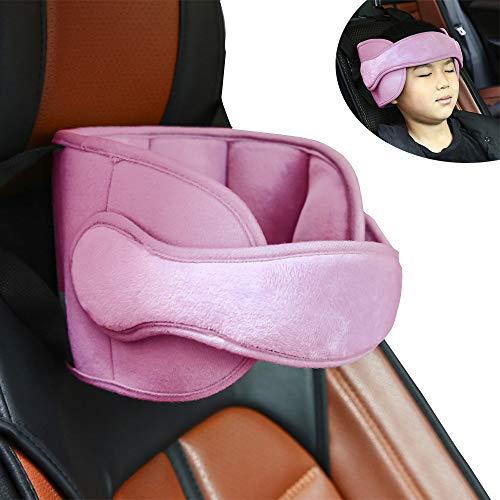 Pejoye Einstellbare Schlaf Stellungsregler Kinderwagen Auto Kindersitz Befestigung Riemen Kopf Halter Unterstützung Kristallweiches PP-Baumwollmaterial für Lange Zeit Fahren (Pink)