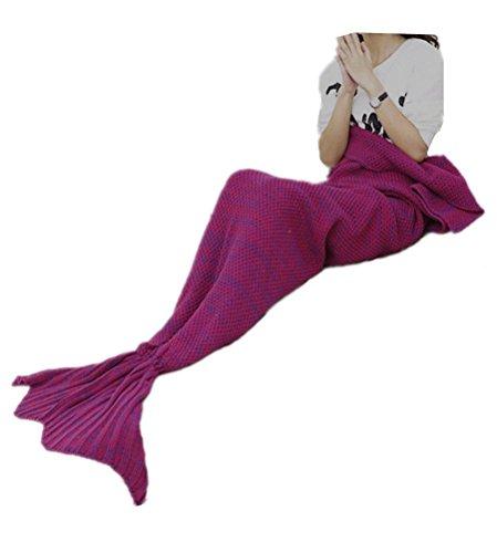 JULI Meerjungfrau Decke Gestrickte Strickmuster Fischschwanz Schlafdecke Meerjungfrauschwanz Adults Stil
