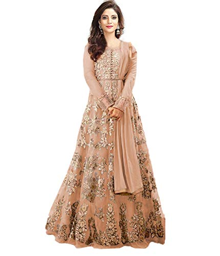 Clothfab Women\'s Net Embroidered Bridal Party Wear Anarkali Salwar Suit Dress Material (Peach-Colour_Free Size)