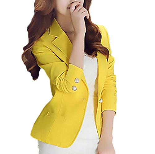 ce4595d0d724 Laisla Fashion Blazer Donna Elegante Business Manica Lunga Solido Slim Fit  Taglie Forti Moda Tailleur Donna