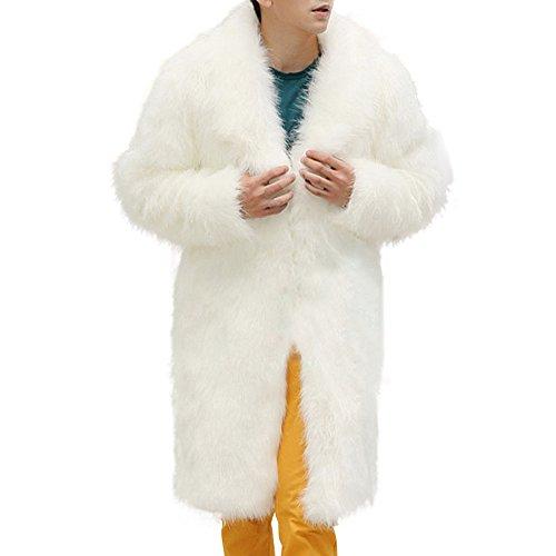 Celucke Mantel Herren Lang Pelzmantel Kunst Felljacke Pelzkragen,Felljacke Wind Coat Winterjacke Faux Pelz Fur