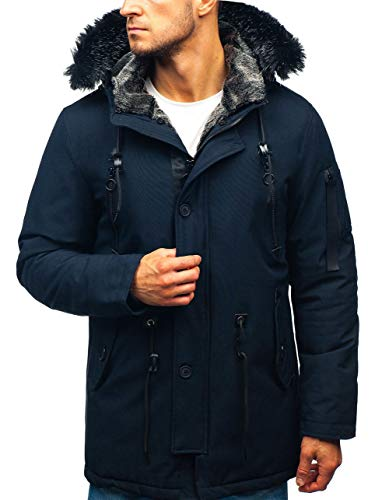 BOLF Herren Winterjacke Kapuze Wintermantel Parka Casual Style J.Boyz 1068 Dunkelblau S [4D4] | 05902646948478