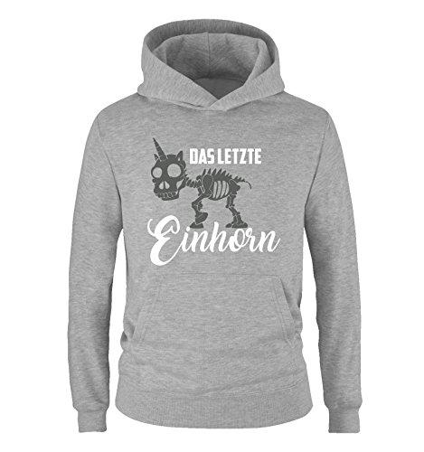 Comedy Shirts - Das letzte Einhorn - SKELETTE - Jungen Hoodie - Grau / Weiss-Grau Gr. (Skelett Kinder Hoodie)