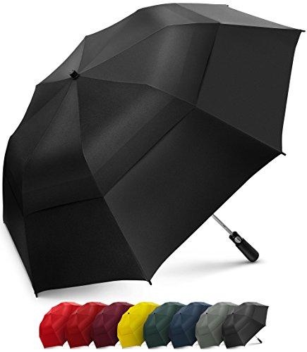 Parapluie de golf pliable EEZ-Y de 147,3 cm, coupe-vent à double auvent extra large– ouverture automatique solide, compacte et portable (Noir)