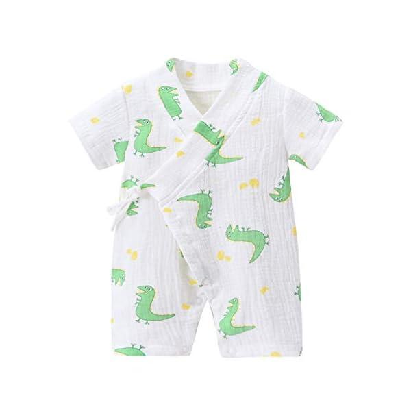 MAYOGO Bebé ReciéN Nacido Kimono Bata Estampado Bebé NiñO Manga Corta V-Cuello Verano Mono Pijama Correa Bebé niño… 4
