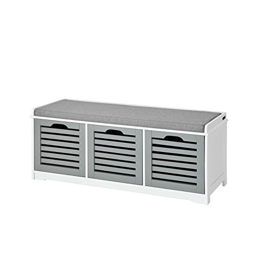 SoBuy® Moderne Schuhtruhe,Sitzkommode mit 3 Körben(grau),Sitzbank, Schuhschrank mit Sitzkissen,Spieltruhe, weiß mit grau, FSR23-HG