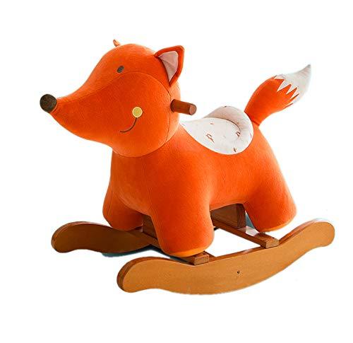 Unbekannt GOUO@ Kind Schaukelpferd Massivholz Plüsch Schaukelstuhl Musik Tierbaby Rocker Spielzeug Für Outdoor Indoor