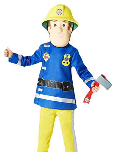 Fancy Ole - Jungen Boy Karneval Kostüm Feuerwehrmann Sam, Mehrfarbig, Größe 110-116, 5-6 (Frauen Feuerwehrmann Kostüme Für)