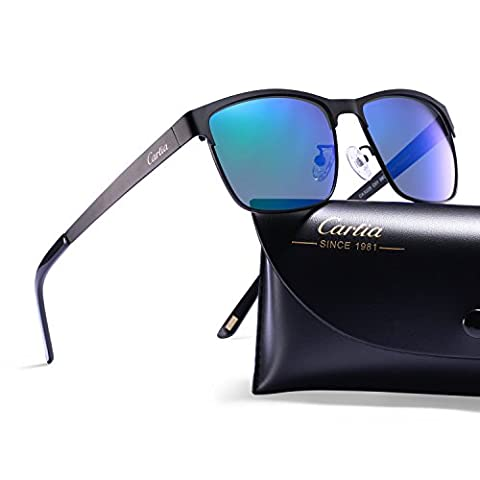 Carfia Polarized Mens Sunglasses Vintage Driving Glasses for Outdoor Sports Fishing Golf - Metal