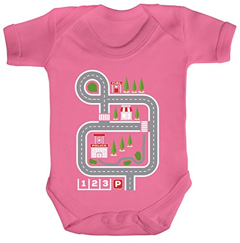 ShirtStreet Kinderteppich Straßenmotiv Strampler Bio Baumwoll Baby Body kurzarm Jungen Mädchen Auto Spielteppich, Größe: 6-12 Monate,Bubble Gum Pink