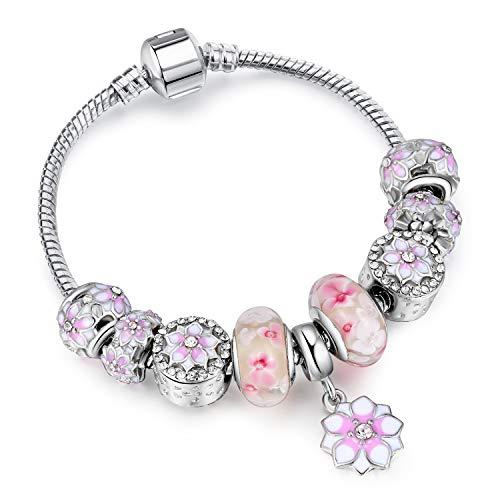 WOKANWO Armband Silber Charm Armbänder Für Frauen Mit Exquisite Blume Anhänger Strass Armbänder Authentische Sicherheitskette Schmuck4