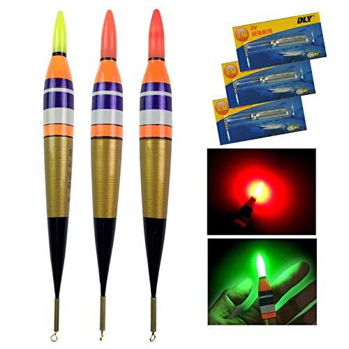 QualyQualy Elektronische LED-Angelposen für Salzwasser, Felsenfischen, Posen für Fische, 3,5 g, 7 g, 10,5 g, Fischköder mit Nachtbeleuchtung, 3 Stück, 3 Stück Größe 1.