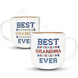 Gifffted Tasses Grand-mère Et Grand-père, Mug Original Idée Cadeau pour Grands Parents, Anniversaire Mariage Couple, Mamie Et Papi Et Papy, Mr Et Mrs, Maman, Pappa, Noel, Cafe Tasse, V4