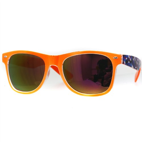 Oramics® Schwarze Retro Wayfarer Sonnenbrille Nerd Brille klar & schwarz (Orange-Muster3)