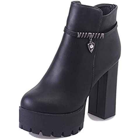 San 2016 nuevos zapatos de tac¨®n alto gruesos con s¨²per cargadores femeninos completan los zapatos de fondo grueso a prueba de agua, adem¨¢s de terciopelo botas de invierno las mujeres Martin , black , 39