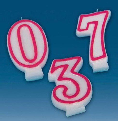 tib 11148 Geburtstagskerze, 20,3 cm, Weiß/Rot, Einheitsgröße (Rot Und Weiß Geburtstagskerzen)