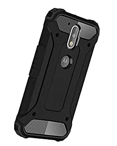 Norby Solid Heavy Duty Rugged Tough Hybrid Rigid Armor Guard Back Case Cover for Motorola Moto G4 Plus (Black)