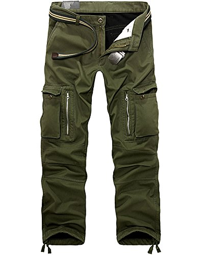AYG Mens Warm Trousers Polar Fleece Thickened Cargo Camo Pants Combat (Army Green,34)