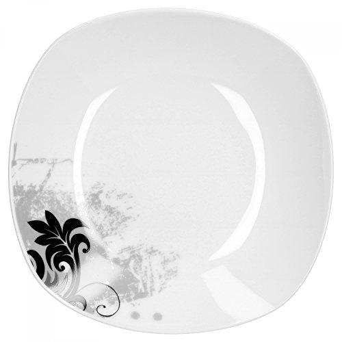 Van Well Black Flower Lot de 4 assiettes creuses 21,5 cm | Étui de harnais | Passe au lave-vaisselle | Porcelaine de grande qualité | Décor floral noir sur gris