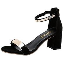a2e4e1011bf Sandalias para mujer Sandalias de verano con punta abierta de mujer Zapatos  de tacón grueso Zapatos