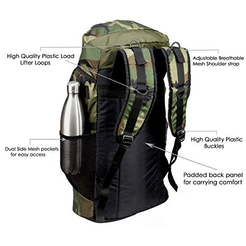 Chris & Kate Large Army Green Camouflage Bag || Travel Backpack || Outdoor Sport Camp Hiking Trekking Bag || Camping Rucksack Daypack Bag (45 litres)(CKB_186LL) Image 4