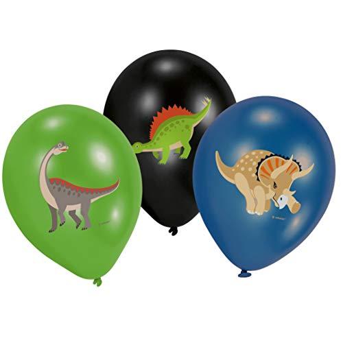 amscan 9903988 6 Latexballons Happy Dinosaurier, Grün, Schwarz & Blau