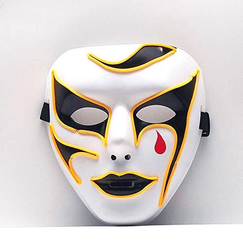 Volle Gesicht Cartoon Horror Maske EL Draht Party Maske Led Maskerade Party Maske Kostüm Glühen Party Nachtclub Tanz Halloween Horror (El Draht Tanz Kostüm)