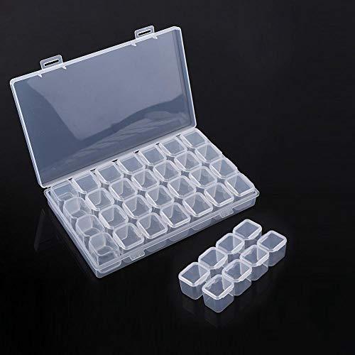 WSDSHH 28 Slots durchsichtigen Kunststoff Leere Aufbewahrungsbox Nail Art Strass Tools Schmuck Perlen Display Veranstalter Schmuck Verpackung -
