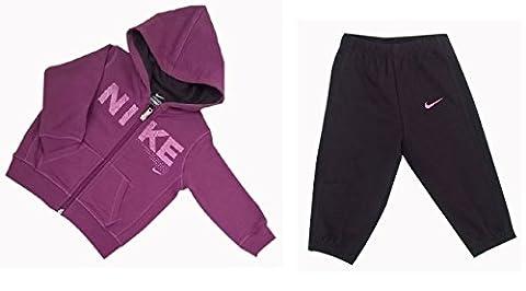 Nike Mädchen Trainingsanzüge Girls Fleece Jog Suit Hooded Tracksuit Infant Hoodie Joggers Purple New (18/24 Months)