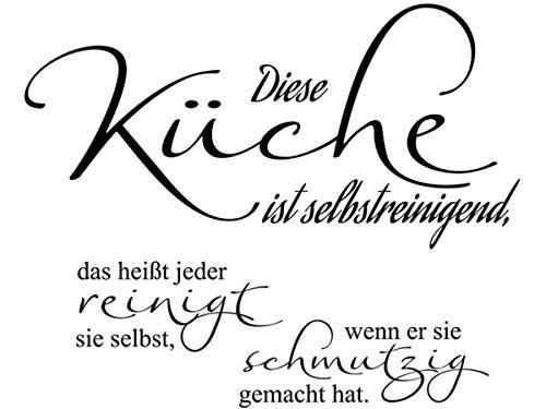 Wandtattoo-bilder® Wandtattoo Sprüche Diese Küche ist selbstreinigend Nr 3 Küchendeko Küchenaufkleber Größe 70x57, Farbe Schwarz