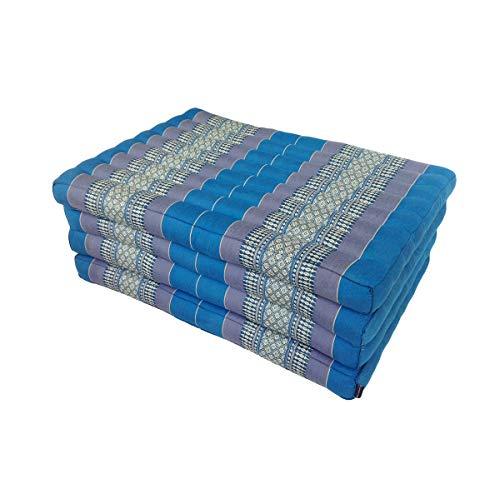 Collumino® Traditionelles Thailändische Kapok Klappmatratze für Yoga Massage oder Entspannung-Extra Länge Größe 80x 200cm blau