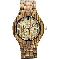 Reloj de bambú hombres, Dxlta Moda Natural Relojes de madera | Deporte análogo Reloj de pulsera - Rojo