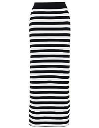 Mujer Blanco Y Negro Rayas Gypsy Vestido Largo Mujer Largo Estilo Jersey Elástico Falda