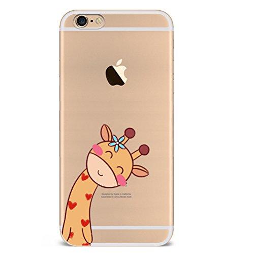 Iphone 7 Hülle Giraffe Einhorn Elefanten Art Karikatur Silikon TPU Schutzhülle Ultradünnen Case Schutz Hülle für iPhone 7 YM72