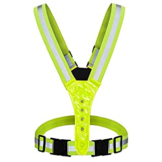AYKRM LED Running Vest & Belt, High Visibility with Reflective Belt for Safety, Running and Cycling (Yello)