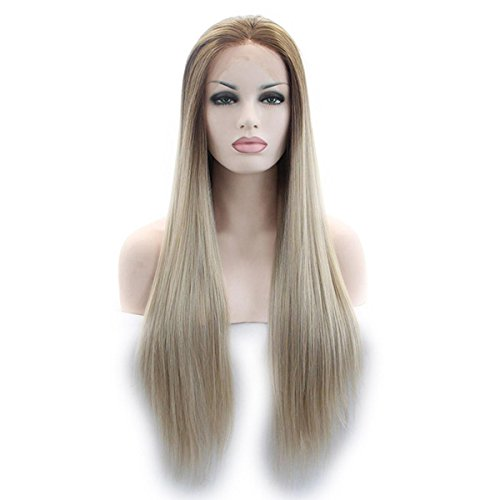 SHKY Hitze resistent natürliches Haar Perücke lang gerade Klebstoff ombre blonde zu Braun synthetischen Spitzen vorne Perücke für weiße Frauen , 22 (Für Kostüme Halloween Emo)