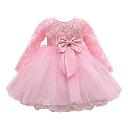 Baby Kleid Huhu833 Blume Baby Mädchen Prinzessin Kleid Brautjungfer Pageant Kleid Geburtstag Party Brautkleid (Rosa, 18M-90CM)
