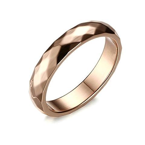 Beydodo Stainless Steel Rings For Womens (Wedding Bands),Rhombus lozenge Rose Gold Size N 1/2