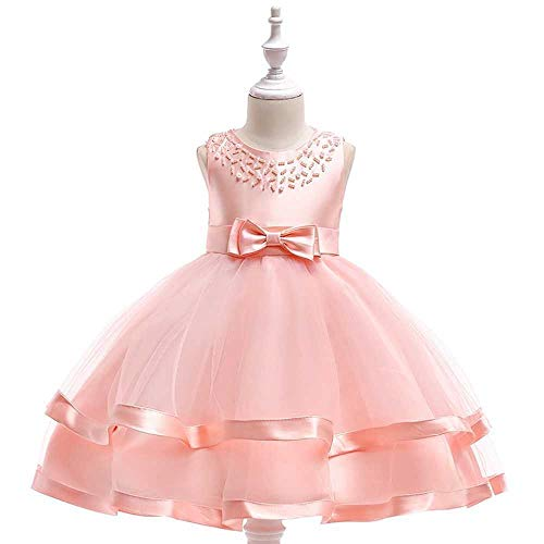 Bademode Bowknot Princess Dress Lace Mesh Blumenmädchen Kostüm Klavier Performance Kleidung 3-11Jahre Bikinis (Color : Pink, Size : 7-8Years)